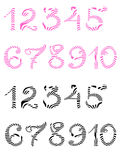 Handwritten pink and black numerals isolated Royalty Free Stock Photography
