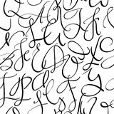 Handwritten pointed pen font seamless pattern Stock Photos