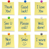 Handwritten Post It Notes Set. Collection of nine post it notes with different handwritten messages, on white background. Eps file available Royalty Free Stock Images