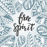 Handwritten quote free spirit with feathers and arrows Royalty Free Stock Images
