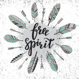 Handwritten quote free spirit with feathers and arrows Royalty Free Stock Photos