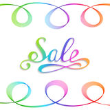 Handwritten Rainbow Inscription Sale on White Background. Royalty Free Stock Images