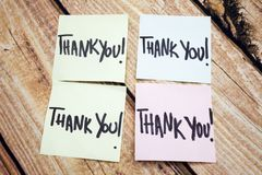 Handwritten Reminder of Gratitude. Positive Message About Values. Written Acknowledgement Response. Four Thank You Note royalty free stock image