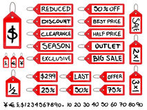 Handwritten Sale Tags Royalty Free Stock Photos