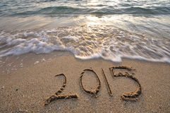 2015 handwritten on sand beach Royalty Free Stock Photo