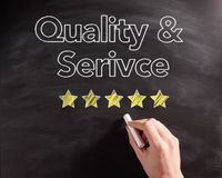 Handwritten Service and Quality Texts on Board royalty free stock photo