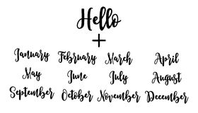 Handwritten set Hello plus months. Lettering vector illustration Royalty Free Stock Photo