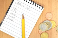 Handwritten shopping list Royalty Free Stock Images