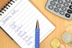 Handwritten shopping list Stock Photo