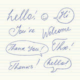 Handwritten short phrases. Hello, Thank You, Welcome, Thanks, Hi, Thx.. Royalty Free Stock Image