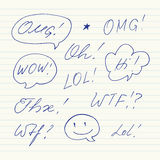 Handwritten short phrases. OMG, WOW, Oh, WTF, Thx, LOL Royalty Free Stock Photos
