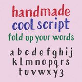 Handwritten style cool typeface.  english alphabet of grainy texture. Fashion font of lowercase letters Royalty Free Stock Images