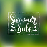 Handwritten Summer Sale vector illustration on blurred background for poster or banner. Stock Photo