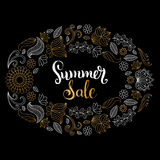 Handwritten Summer sale vector illustration in floral frame for poster. Special offer flyer, discount card design. Handwritten Summer sale vector illustration Royalty Free Stock Photo