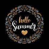 Handwritten Summer sale vector illustration in floral frame for poster. Special offer flyer, discount card design. Handwritten Summer sale vector illustration Stock Image