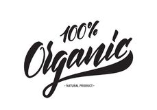 Handwritten tag lettering of 100 percent Organic Natural Products. Vector illustration: Handwritten tag lettering of 100 percent Organic Natural Products Stock Photos