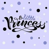 Handwritten text, inscription in vector format, little princess with crown for postcard, poster, print, logo, print f vector illustration