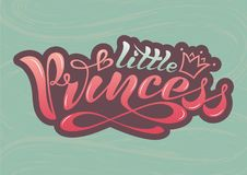 Handwritten text, inscription in vector format, little princess with crown for postcard, poster, print, logo, print f. Handwritten text, calligraphy, inscription vector illustration