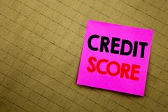 Handwritten text caption showing Credit Score. Business concept writing for Financial Rating Record written on sticky note paper o. N yellow background royalty free stock image