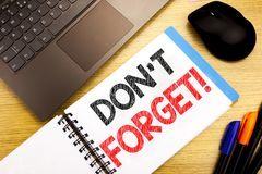 Handwritten text caption showing Do Not Forget. Business concept writing for Reminder Message written on notepad with copy space o. Handwritten text caption stock photography