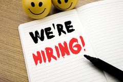 Handwritten text caption showing We Are Hiring Now. Business concept writing for Recruitment Human Resources written on notebook. Handwritten text caption stock images