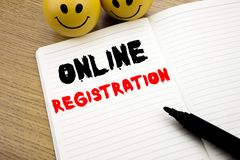 Handwritten text caption showing Online Registration. Business concept writing for Internet Login written on notebook with copy sp. Handwritten text caption stock photo