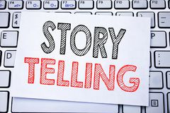 Handwritten text caption showing Storytelling. Business concept writing for Teller Story Message written on sticky note paper on t. Handwritten text caption Stock Photo