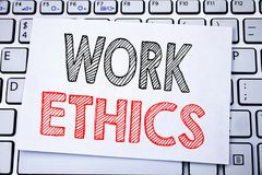 Handwritten text caption showing Work Ethics. Business concept writing for Moral Benefit Principles written on sticky note paper o. N white keyboard background Royalty Free Stock Photos