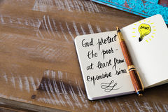 Handwritten text God protect the poor — at least from expensive sins. Handwritten text God protect the poor — at least from expensive sins with fountain Royalty Free Stock Images