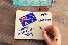 Handwritten text HAPPY AUSTRALIA DAY 26 JANUARY Royalty Free Stock Photo