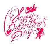 Handwritten text Happy Valentine`s Day Stock Photo