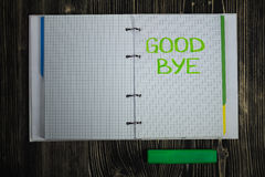 Handwritten text message on the Notepad page with green marker. Stock Photography