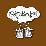 Handwritten text Oktoberfest, Beer mug and froth. Oktoberfest card. Handwritten text Oktoberfest, Beer mug and froth  on brown background. Vector illustration Stock Images