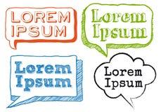 Handwritten text in scribble frames, vector set Stock Images