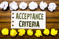 Handwritten text showing Acceptance Criteria. Business concept for Digital Criterion Written on sticky note, wooden with sticky, m. Handwritten text showing Royalty Free Stock Photography