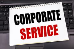 Handwritten text showing Corporate Service. Business concept writing for Csr Digital Content written on notepad note paper on the. Handwritten text showing Royalty Free Stock Photo