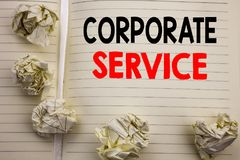 Handwritten text showing Corporate Service. Business concept writing for Csr Digital Content Written on notepad note paper, white. Handwritten text showing Stock Photo