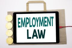 Handwritten text showing Employment Law. Business concept writing for Employee Legal Justice Written on shopping bag and tablet wi. Handwritten text showing Royalty Free Stock Photography