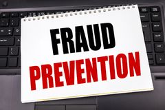 Handwritten text showing Fraud Prevention. Business concept writing for Crime Protection written on notepad note paper on the blac. Handwritten text showing Stock Image