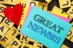 Handwritten text showing Great News. Conceptual photo Success Newspaper Information Celebration written on colorful sticky note on royalty free stock photos