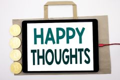Handwritten text showing Happy Thoughts. Business concept writing for Happiness Thinking Good Written on shopping bag and tablet w. Hite background, tablet Royalty Free Stock Photography