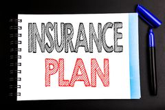 Handwritten text showing Insurance Plan. Business concept writing for Health Life Insured Written on notepad note paper, black bac. Handwritten text showing Royalty Free Stock Image