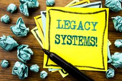 Handwritten text showing Legacy Systems. Business concept for Upgrade SOA Application Written on sticky note paper, wooden backgro. Und marker folded yellow Royalty Free Stock Photography