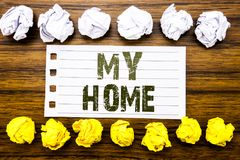 Handwritten text showing My Home. Business concept for House Estate Love Written on sticky note, wooden with sticky, many folded p. Handwritten text showing My royalty free stock images