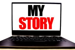 Handwritten text showing My Story. Business concept writing for Telling Tell About You Written on monitor front screen, white back. Ground with space view Royalty Free Stock Photos