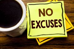 Handwritten text showing No Excuses. Business concept for Stop Ban for Excuse written on sticky note paper on the wooden wood back. Handwritten text showing No Stock Photo