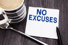 Handwritten text showing No Excuses. Business concept for Stop Ban for Excuse written on the tissue paper handkerchief on the wood royalty free stock images