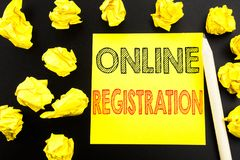 Handwritten text showing Online Registration. Business concept writing for Internet Login written on sticky note paper on the blac. Handwritten text showing stock images