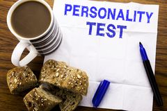 Handwritten text showing Personality Test. Business concept for Attitude Assessment written on tissue paper on the wooden backgrou. Handwritten text showing stock image