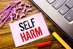 Handwritten text showing Self Harm. Business concept for Selfharm Mental Aggression written on pink sticky note paper on the woode. Handwritten text showing Self Stock Photo